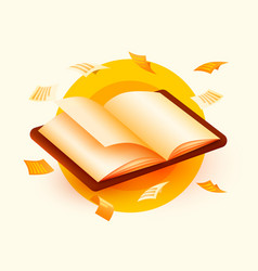 Opened book with flying sheets paper education vector