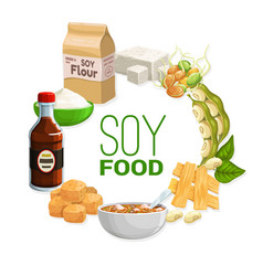 Organic natural soy and soybean vegetarian food vector