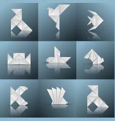 Origami icon ship pajarita pigeon fish vector