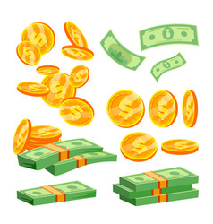 Packages banknotes pile cash dollar vector