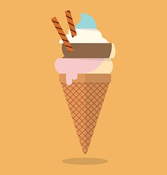 Pastel color of ice cream cone vector image