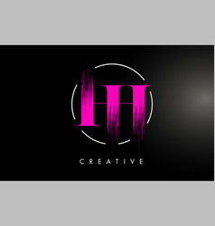 pink hh brush stroke letter logo design vector image