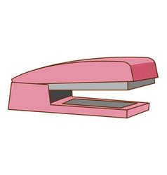 Pink stapler on white background vector