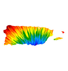 Puerto rico - map is designed rainbow abstract vector