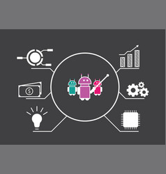 robots infographic point to business icon vector image
