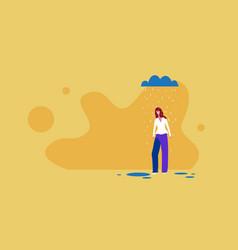 sad depressed businesswoman standing under rain vector image