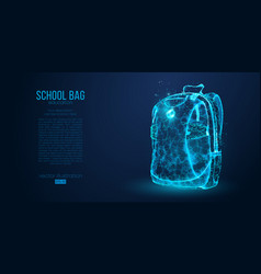 School backpack isolated from low poly wire frame vector