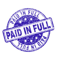 scratched textured paid in full stamp seal vector image