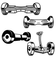Self-balancing electric scooter icons isolated vector