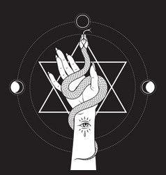 Serpent in female hands over six pointed star vector