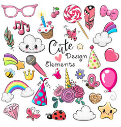set cute design elements vector image