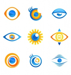 set of eye symbols vector image