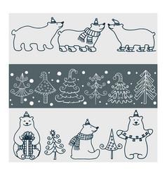 set of icons of polar bears and christmas vector image