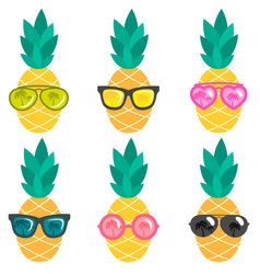 set of pineapples with sunglasses vector image vector image
