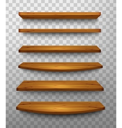 Set of wooden shelves on a transparent background vector
