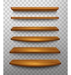 set wooden shelves on a transparent background vector image