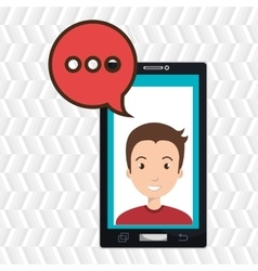 smartphone man speech bubble vector image