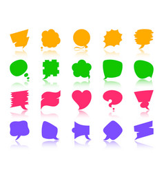 Speech bubble color silhouette icons set vector