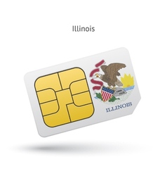 State of Illinois phone sim card with flag vector