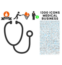 stethoscope icon with 1300 medical business icons vector image