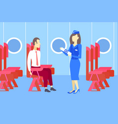 stewardess presenting to business man airplane vector image