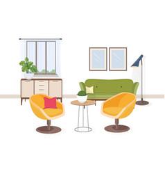 stylish interior living room or salon full of vector image