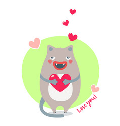 sweet card for valentines day with brown cat vector image