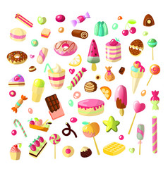 Sweet cartoon candy set collection of sweets vector