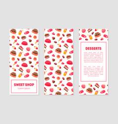 sweet shop desserts banner templates set vector image