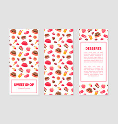 sweet shop desserts banner templates set with vector image