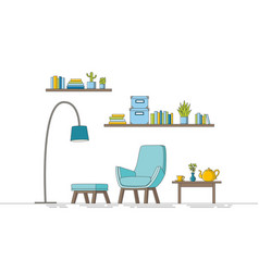 thin line of a modern living room vector image