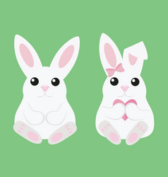 two white rabbit a boy and a girl with a heart vector image