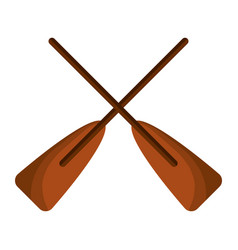 two wooden crossed boat oars sport vector image