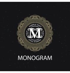 Vintage monogram frame template vector image