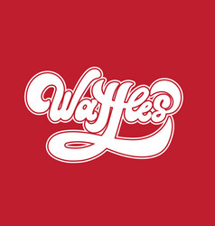 Waffles handwritten lettering made in 90s style vector