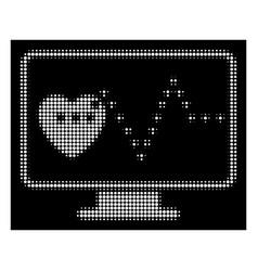 White halftone cardio monitoring icon vector