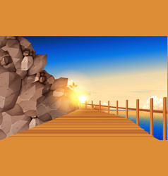 Wooden walkway board at rocky mountains the vector