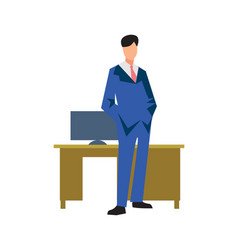 young businessman near table in flat design vector image