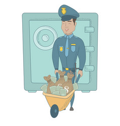 Young hispanic policeman with confiscated money vector