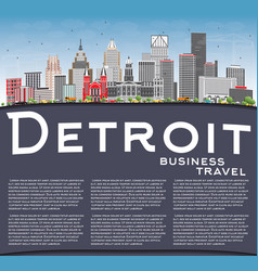 Detroit skyline with gray buildings blue sky and vector