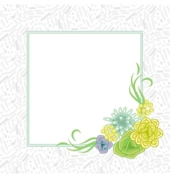 Flower square card template vector image vector image