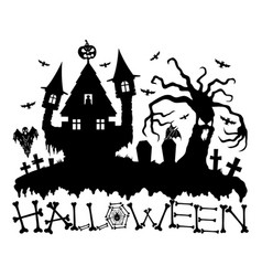 halloween night at the cemetery vector image vector image