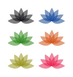 Lotus in different colors- logo for business vector image vector image