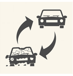 old damaged and new cars car recycling concept vector image vector image