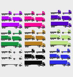 set of vehicles cargo truck and van vector image