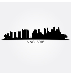 Singapore skyline Black silhouette vector image vector image