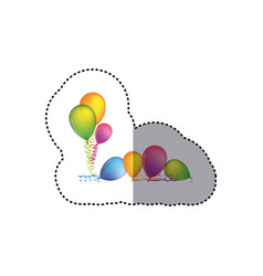 sticker set flying balloons with serpentine on the vector image vector image