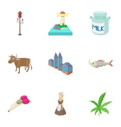 Tourism in Holland icons set cartoon style vector image vector image