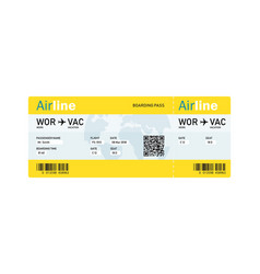 air ticket by plane with text vector image vector image