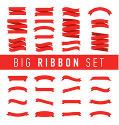big red ribbons set isolated on white background vector image vector image